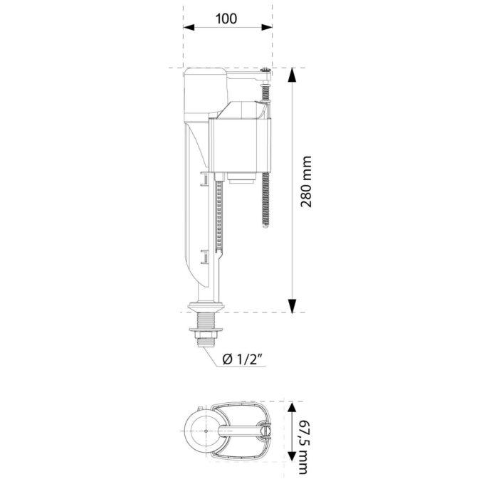 Jollyfill Bottom Entry Plastic Tailpiece INLET VALVE – 1/2 inch
