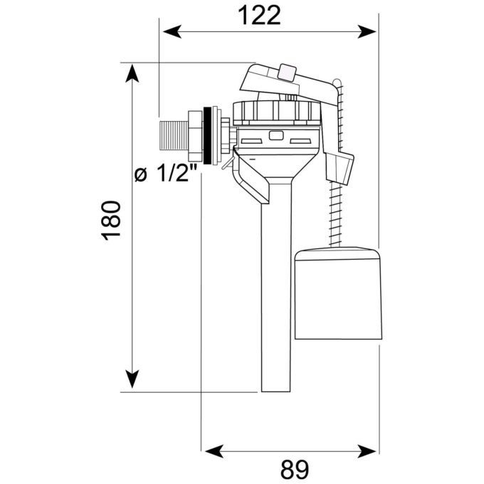 """Topy Side Entry 1/2"""" Plastic Tailpiece INLET VALVE"""