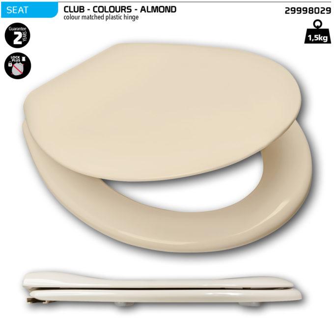 Club Toilet Seat – Almond  – Plastic hinge