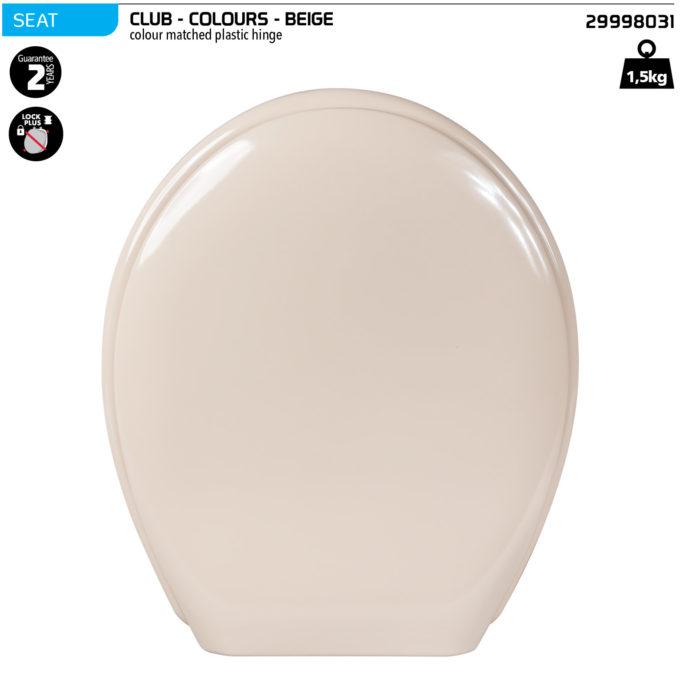 Club Toilet Seat – Beige – Plastic hinge