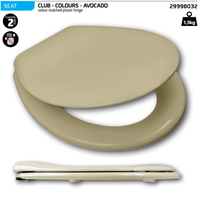 Club Toilet Seat – Avocado – Plastic hinge