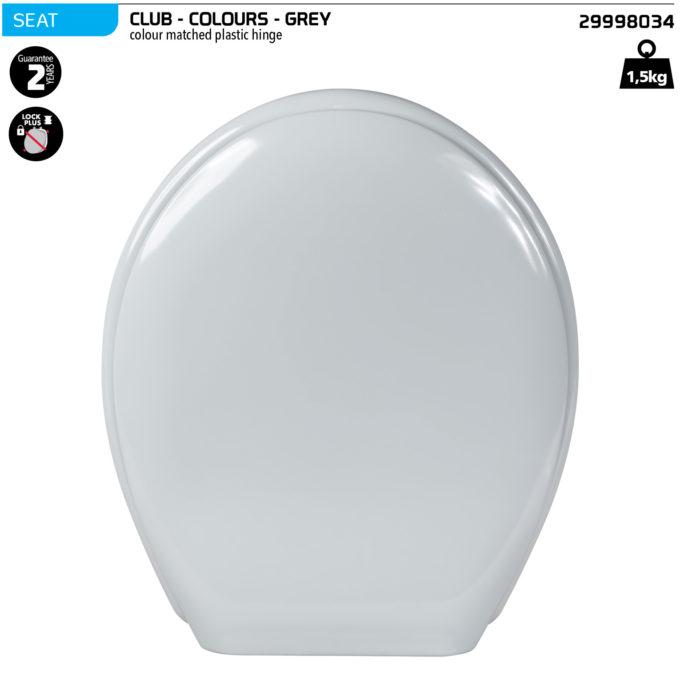 Club Toilet Seat – Grey – Plastic hinge
