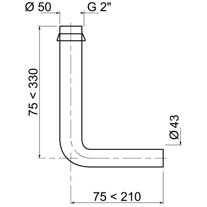 Flushpipe 2 Inch to 43 mm 90 Degree Including conical washer