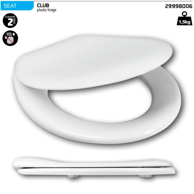 Club White Toilet Seat – Plastic hinge