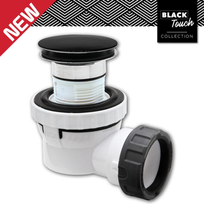 XS Pure SOLID DOME Quick Clac Basin Waste + Trap MATT BLACK