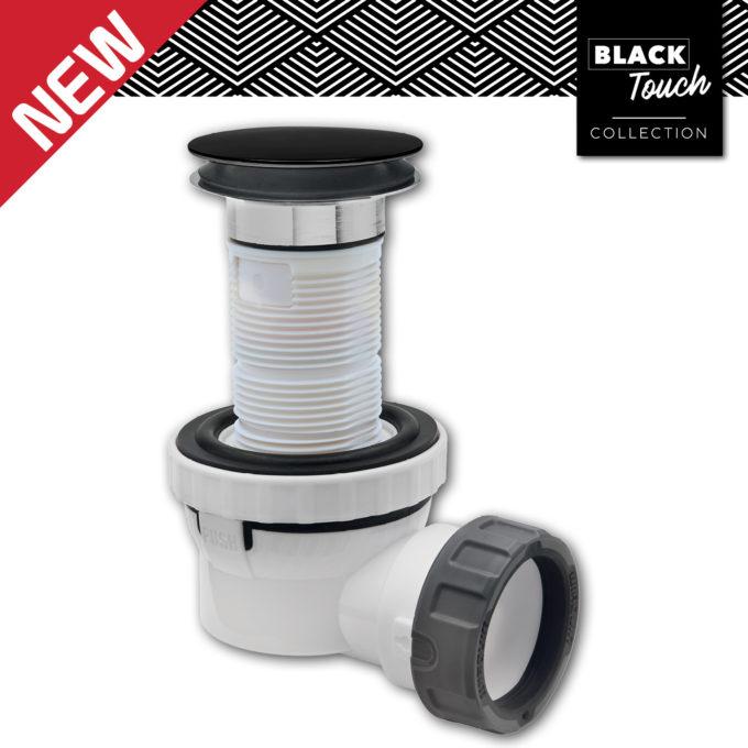XS Pure SOLID DOME Quick Clac Long Shank Basin Waste + Trap MATT BLACK