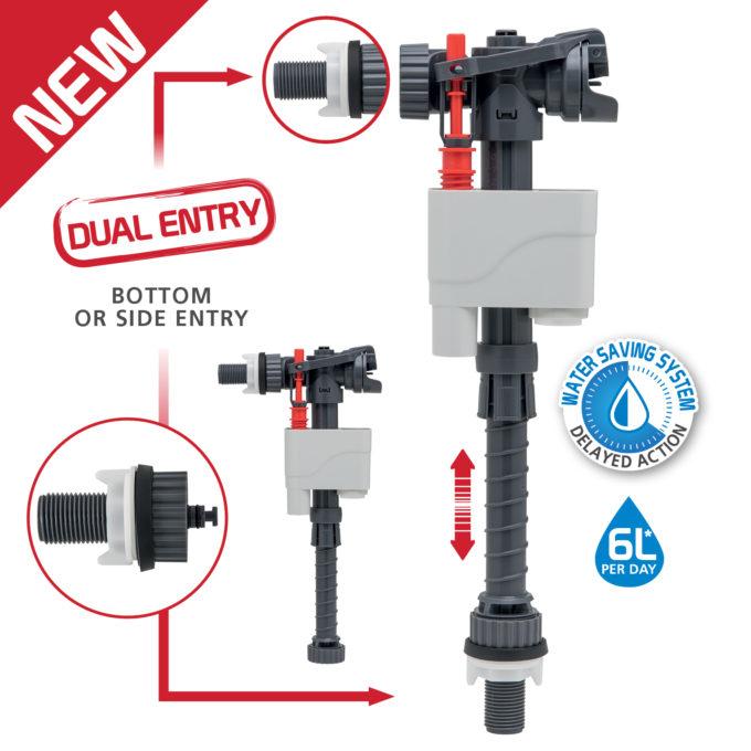 Doblo Dual Entry Telescopic Plastic Tailpiece INLET VALVE – 1/2 inch