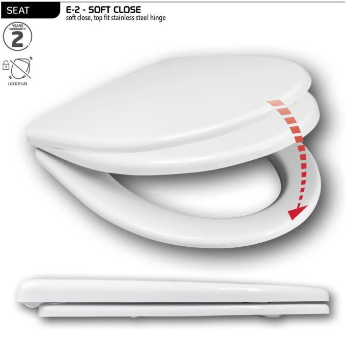 E-2 Toilet Seat – Soft Close SS hinge