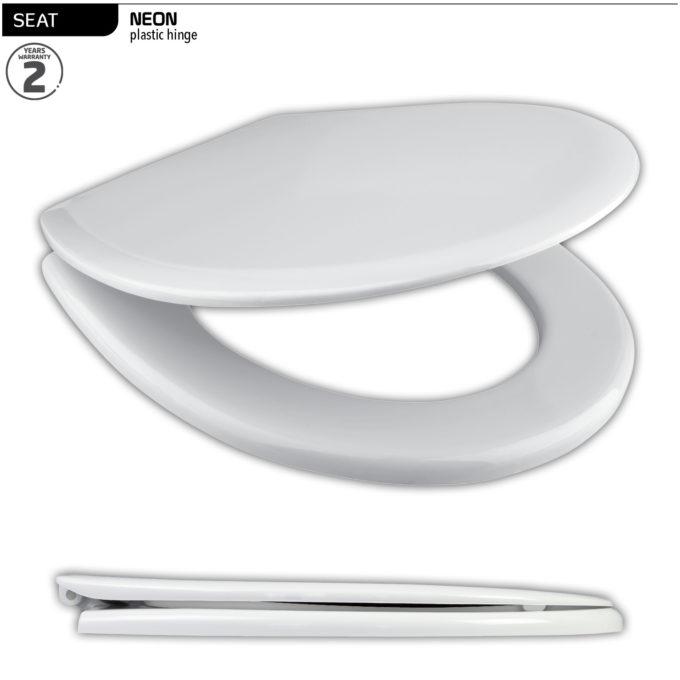 Neon Toilet Seat – White – Plastic hinge